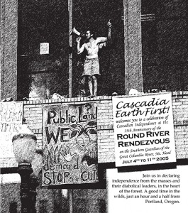 A 2005 EF! Rendezvous Flyer with image of Tre Arrow protesting the logging of Eagle Creek in July 2000.