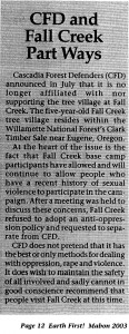 CFD was keen to spread the word that they were distancing themselves from Fall Creek.